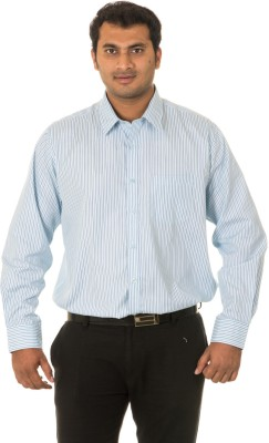 West Vogue Men's Striped Formal Green Shirt