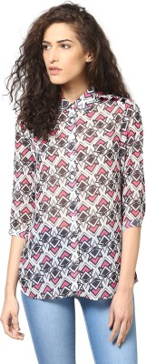 Love From India Women's Geometric Print Casual Pink Shirt