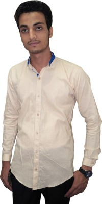 Ali Darzi Men's Solid Casual Beige Shirt