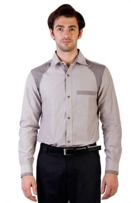 Ebry Men's Solid Formal Brown Shirt