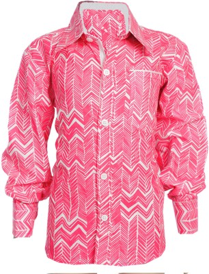 Little Pocket Store Boy's Printed Casual Pink Shirt