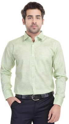 Blue Bird Men's Self Design Formal Green Shirt