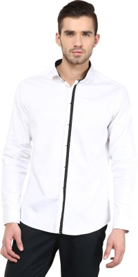 Invern Men's Solid Casual White Shirt