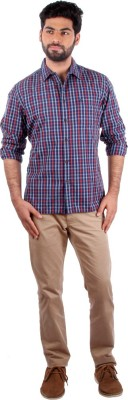 Indian Terrain Men's Checkered Casual Orange Shirt
