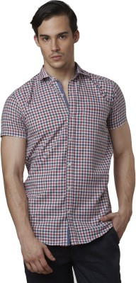 Lisova Men's Checkered Casual Red Shirt