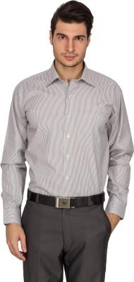 Indocity Men's Striped Formal Grey Shirt