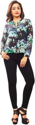 Reinvent Women's Self Design Casual Green Shirt
