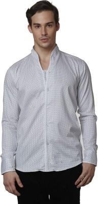 Lisova Men's Printed Formal White Shirt