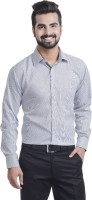 Coffee Bean Formal Shirts (Men's) - Coffee Bean Men's Striped Formal Grey Shirt