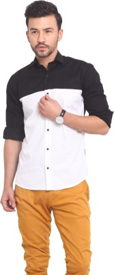 Exitplay Men's Solid Casual Black, White Shirt