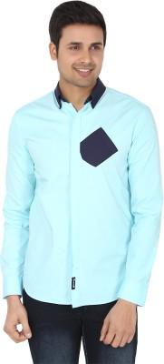 Suchos Men's Solid Casual Light Blue, Dark Blue Shirt