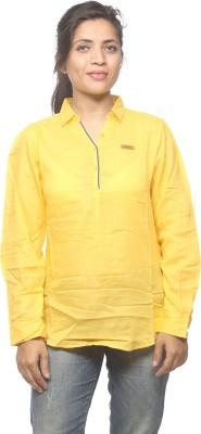 Spykar Women's Solid Casual Yellow Shirt