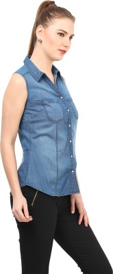 At By Taruna Women's Solid Casual Blue Shirt