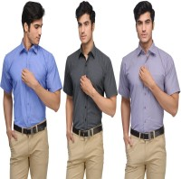 Vicbono Formal Shirts (Men's) - Vicbono Men's Striped Formal Multicolor Shirt(Pack of 3)
