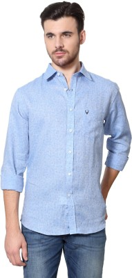 Allen Solly Men's Printed Casual Linen Blue Shirt