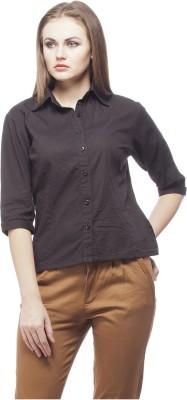 Peptrends Women's Solid Formal Black Shirt