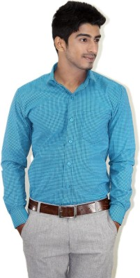 Piccolo Clothings Men's Checkered Formal Green Shirt