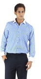 Silkina Men's Checkered Formal Blue Shir...