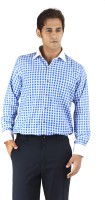 Silkina Formal Shirts (Men's) - Silkina Men's Checkered Formal Blue Shirt