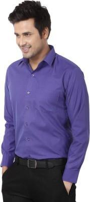 Sarathi Men's Solid Casual Purple Shirt