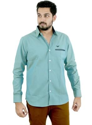 Fast Look Men's Solid Formal Light Green Shirt