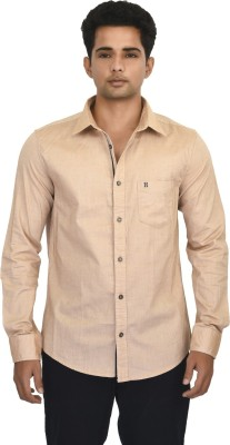 Hackensack Men's Solid Casual Orange Shirt