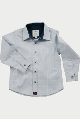 Cherry Crumble California Boy's Checkered Casual Light Blue Shirt