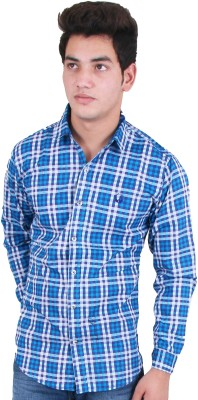 Four Lines Men's Checkered Casual Light Blue Shirt