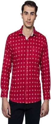 Lee Marc Men's Printed Casual Red, White Shirt