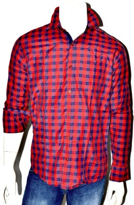 Indian Touch Men,s Checkered Casual Red, Black Shirt
