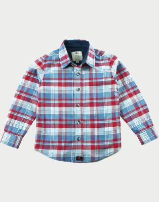 Cherry Crumble California Boy's Checkered Casual Blue, Red Shirt