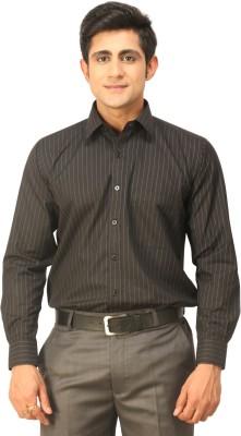 Seven Days Men's Striped Formal Black Shirt