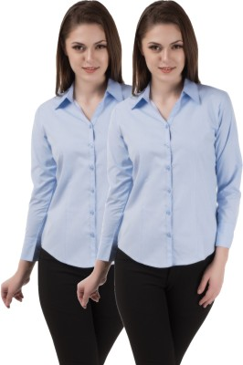 Shoprillo Women's Solid Formal Light Blue, Light Blue Shirt