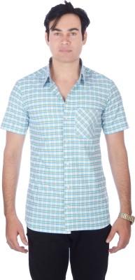 Darzii Men's Checkered Casual White, Blue, Yellow Shirt