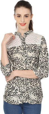 RD Traders Women's Printed Casual Black, White Shirt