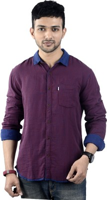 St. Germain Men's Checkered Casual Red Shirt