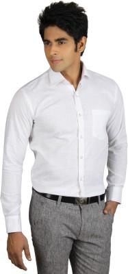 Nexq Men's Solid Formal Linen White Shirt