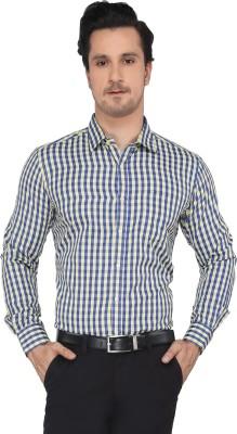 Devaa Men's Checkered Casual Blue, Yellow Shirt
