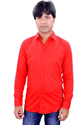 Henry Club Men's Solid Casual Red Shirt
