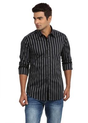 Sting Men,s Striped Formal Black, Purple Shirt