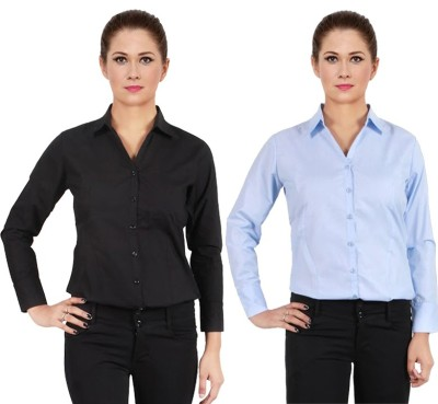 NGT Women's Solid Formal Dark Blue Shirt