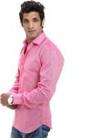 Variancevesture Formal Shirts (Men's) - VarianceVesture Men's Solid Formal Linen Pink Shirt