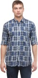 Sleek Line Men's Checkered Casual Blue S...