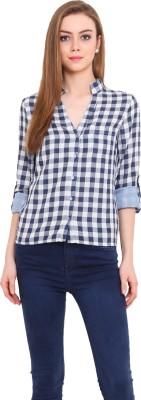 Pryma Donna Women's Checkered Casual Blue Shirt