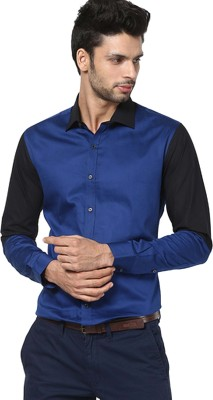 The Design Factory Men's Solid Casual Blue Shirt