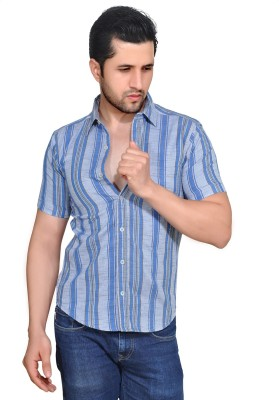 Ubho Core Men's Striped Casual Grey Shirt