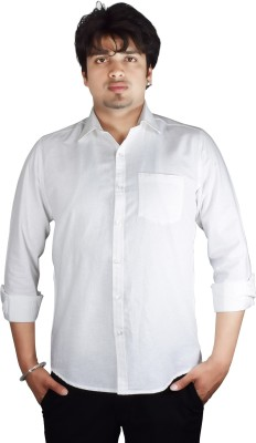 Kartier Men's Solid Casual White Shirt