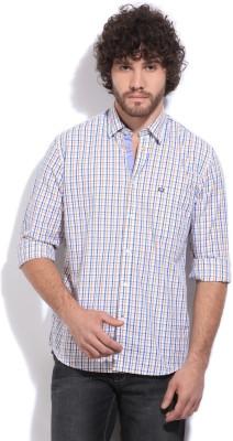 Arrow Sport Men's Checkered Casual White, Blue, Yellow Shirt