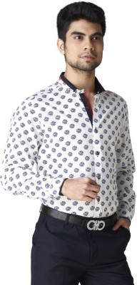 Warewell Men's Printed Party Beige Shirt