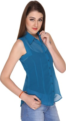 Miss Rich Women's Solid Casual Blue Shirt